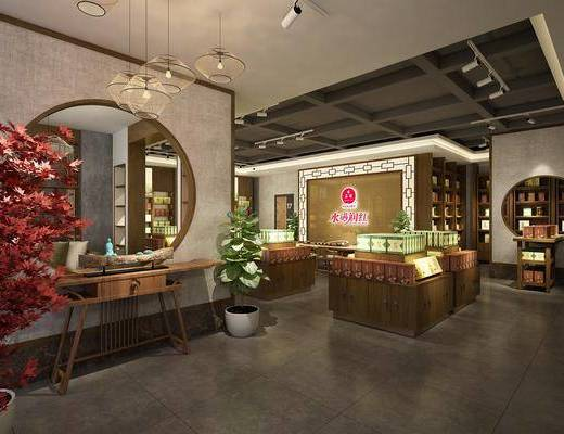 茶叶店, 多人沙发, 单人椅, 吊灯, 盆栽, 茶叶, 茶桌, 装饰架, 装饰柜, 摆件, 装饰品, 陈设品, 现代
