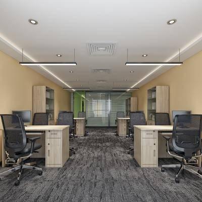 办公室, 书桌, 单人椅, 边柜, 装饰柜, 吊灯, 现代简约
