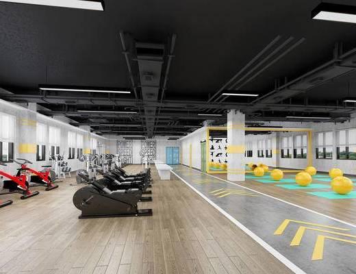 健身室, 跑步机, 运动器械
