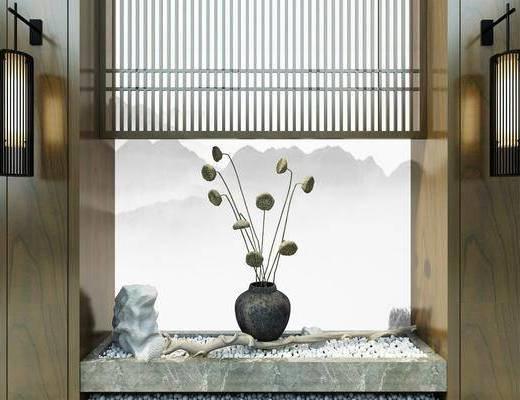 端景, 屏风石子, 花瓶壁灯, 软膜背景, 园艺小品, 花卉石头, 新中式