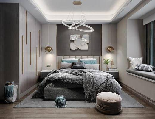 卧室, 双人床, 床头柜, 吊灯, 脚踏沙发, 榻榻米, 墙饰, 衣柜, 摆件, 装饰品, 陈设品, 现代