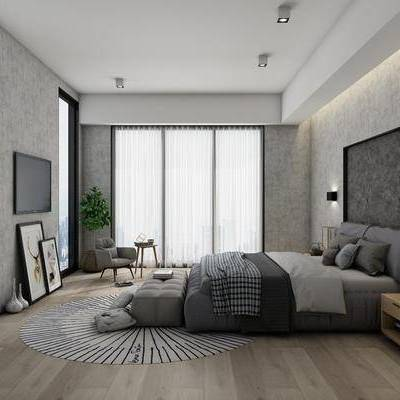 卧室, 双人床, 床尾踏, 床头柜, 壁灯, 单人沙发椅, 装饰品, 植物, 现代