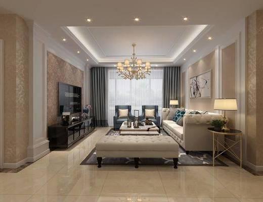 客厅, 餐厅, 多人沙发, 边几, 台灯, 吊灯, 装饰画, 单人沙发, 茶几, 电视柜, 装饰柜, 边柜, 餐桌, 餐椅, 单人椅, 躺椅, 简欧