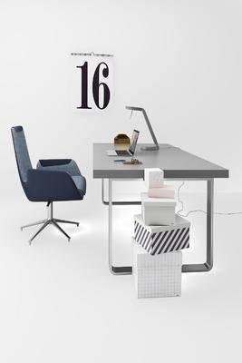 现代办公桌椅组合, 现代, 书桌, 办公桌, 椅子, 盒子, 电脑
