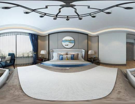 新中式, 卧室, 双人床, 吊灯, 单人沙发, 沙发凳, 边柜, 边几, 台灯