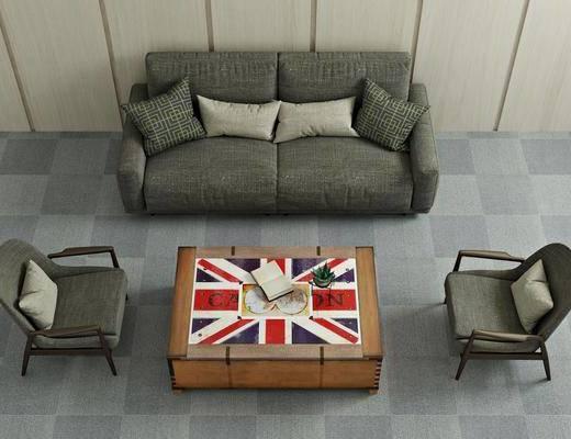 沙发组合, 双人沙发, 单人椅, 茶几, 现代