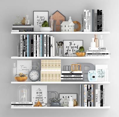 置物架, 摆件组合, 书籍, 装饰品, 陈设品, 现代