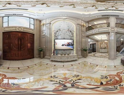客厅, 餐厅, 家装全景, 沙发组合, 沙发茶几组合, 楼梯, 边柜, 欧式