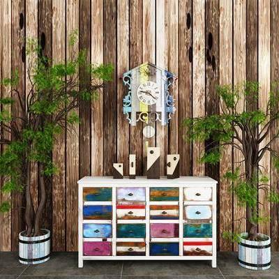 边柜, 摆件, 绿植, 盆栽, 植物, 装饰柜, 墙饰, 北欧