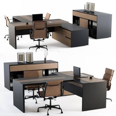 办公桌, 桌椅组合, 文件柜, 书籍, 摆件组合