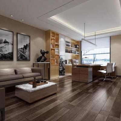 现代, 办公室, 沙发, 茶几, 办公椅, 办公桌