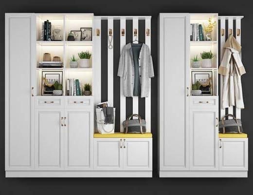 鞋柜, 服饰, 摆件组合, 盆栽, 绿植, 书籍, 现代