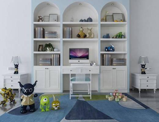 书柜, 装饰柜, 书籍, 床头柜, 台灯, 单人椅, 玩具, 玩偶, 盆栽绿植, 电脑, 装饰品, 陈设品, 现代