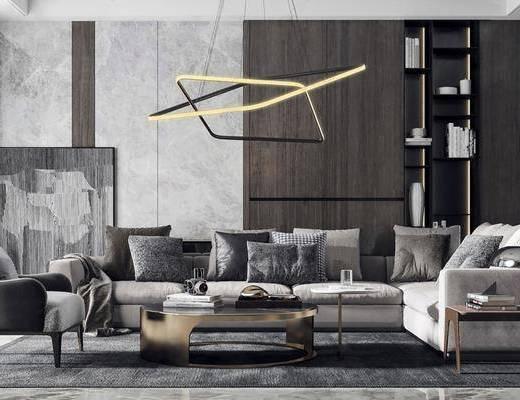 沙发组合, 沙发茶几组合, 吊灯, 装饰柜, 摆件, 装饰品, 陈设品, 现代