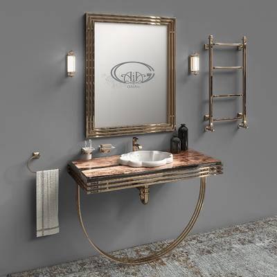 洗手台, 壁镜, 摆件组合, 水龙头