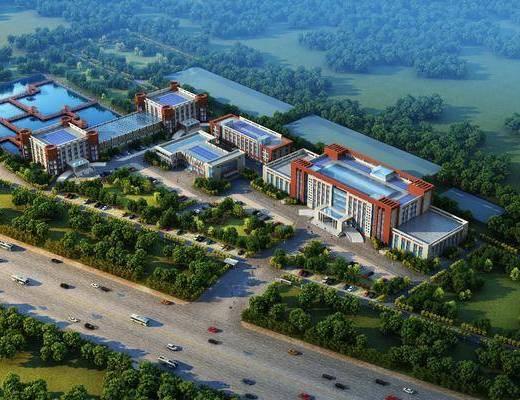 建筑鸟瞰, 工业厂房, 绿植植物, 树木, 门面门头, 办公楼, 现代