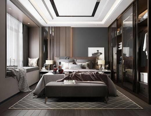 卧室, 现代卧室, 床具组合, 床尾踏, 衣柜, 衣服, 摆件, 现代