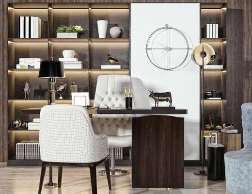 书柜, 书桌, 椅子, 落地灯, 台灯