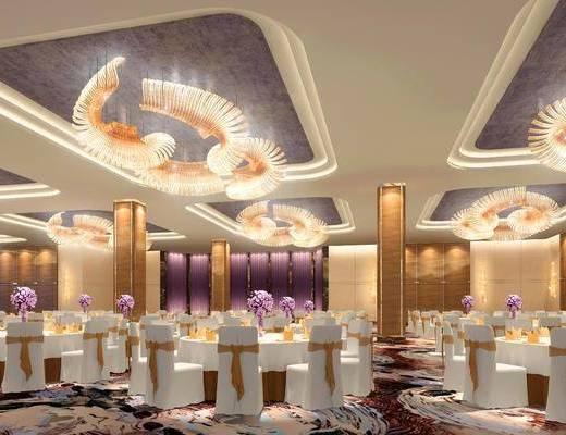 宴会厅, 餐桌, 单椅, 吊灯, 摆件, 现代