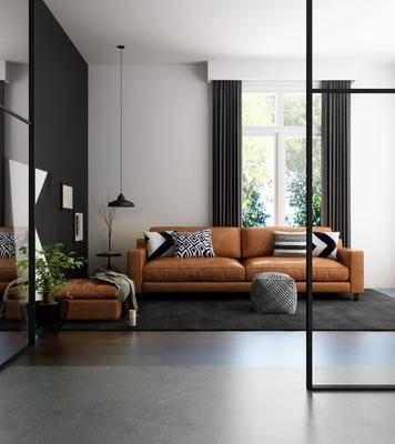 沙发组合, 多人沙发, 脚踏沙发, 边几, 吊灯, 装饰画, 挂画, 现代