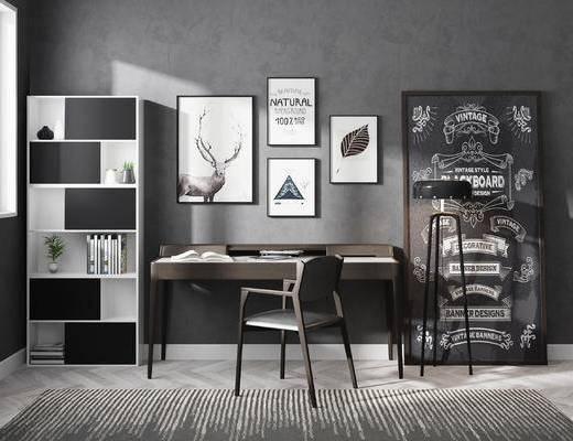 书桌椅, 装饰画, 落地灯, 书桌, 书柜