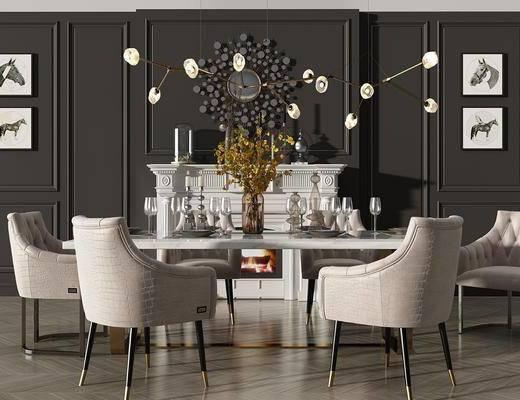 餐桌, 桌椅组合, 餐具组合, 吊灯, 装饰画, 壁炉