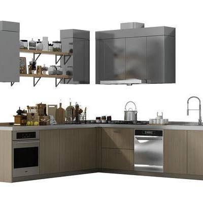 橱柜, 厨具, 厨柜, 现代, 洗菜盆