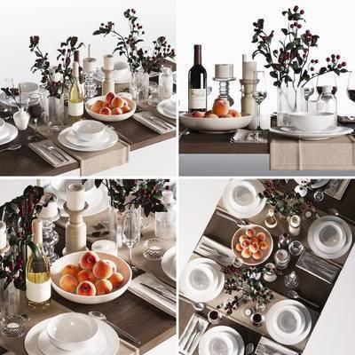 碗, 碟, 杯, 刀叉, 餐具, 蜡烛台, 食物, 餐桌, 现代碗碟杯刀叉餐具蜡烛台食物餐桌组合