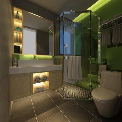 卫生间, 花洒, 马桶, 洗手台, 装饰镜, 现代