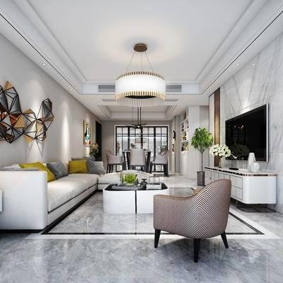 多人沙发, 单人沙发, 电视柜, 边几, 茶几, 摆件, 墙饰, 挂画, 吊灯, 台灯, 现代