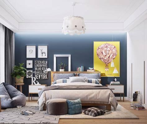 双人床, 床具组合, 装饰画, 单椅, 衣柜
