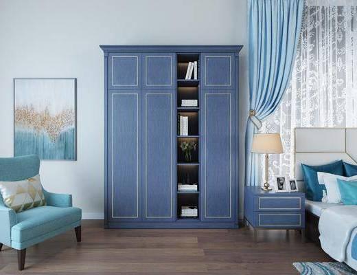 衣柜, 单人沙发, 装饰画, 床头柜, 台灯, 书柜, 书籍, 现代