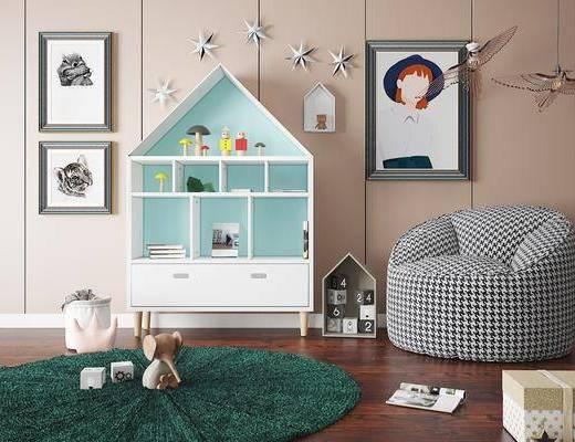 书柜, 地毯, 装饰画, 玩具, 摆件