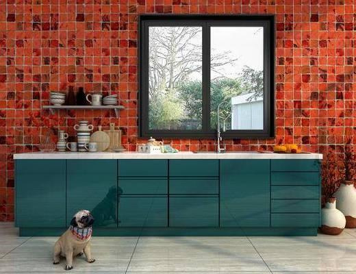 厨具, 橱柜, 宠物狗, 洗手台, 现代