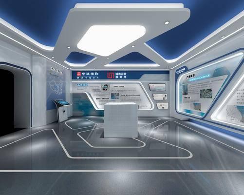 展厅, 展览, 展柜, 现代, 科技