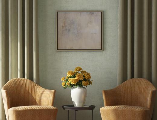 美式, 角几, 单椅, 挂画, 花瓶