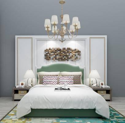双人床, 床头柜, 台灯, 墙饰, 吊灯, 靠枕, 现代