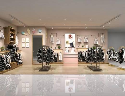 童装店, 服装, 展架, 货柜, 现代, 服装店