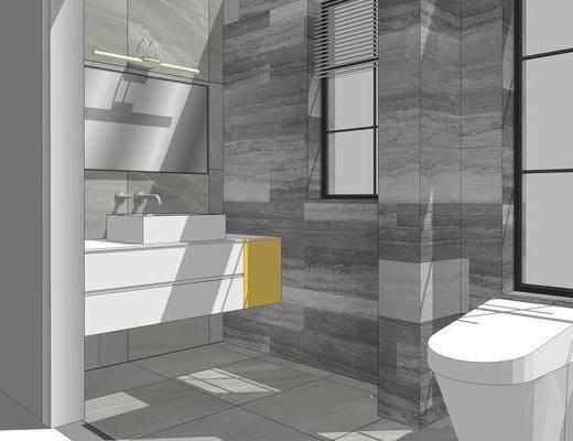 卫浴组合, 浴柜, 壁镜, 马桶