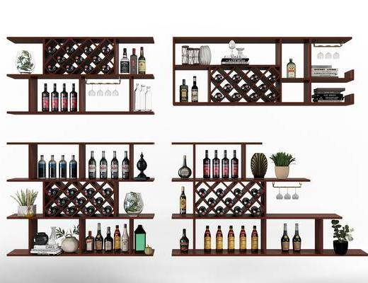 酒柜酒架, 紅酒, 裝飾架, 高腳杯, 酒杯, 擺件組合, 水杯, 現代