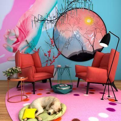 单人沙发, 边几, 落地灯, 花瓶花卉, 圆框画, 吊灯, 风景画, 宠物狗, 现代