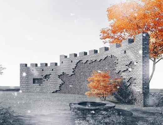 园林景观小品, 城墙, 景墙