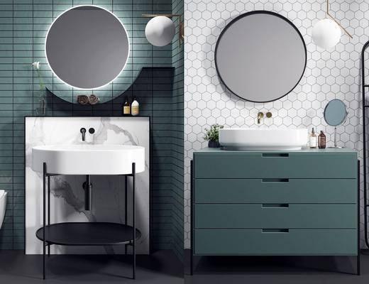 浴室柜组合, 洗手盆, 柜架组合, 吊灯, 壁镜