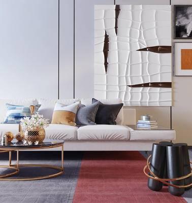 沙发组合, 茶几, 抱枕, 装饰画, 花瓶, 摆件组合