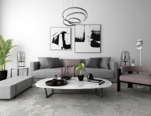 现代, 沙发, 茶几, 吊灯, 挂画, 摆件, 陈设品
