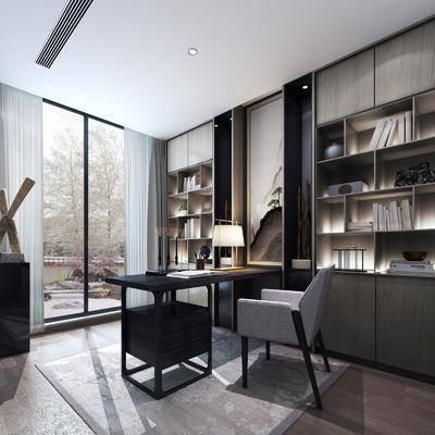 現代書房, 書桌, 書柜, 擺件, 現代