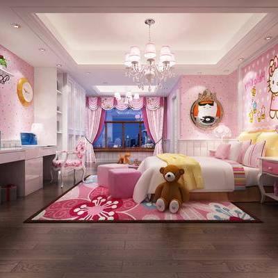 儿童房, 卧室, 现代, 现代卧室, 床, 吊灯, 床头柜, 书桌, 书柜, 玩具