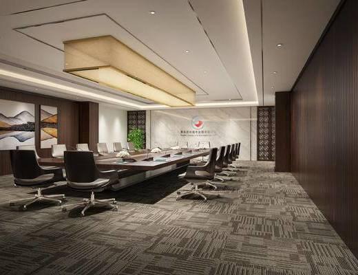 现代, 会议室, 会议桌, 办公椅