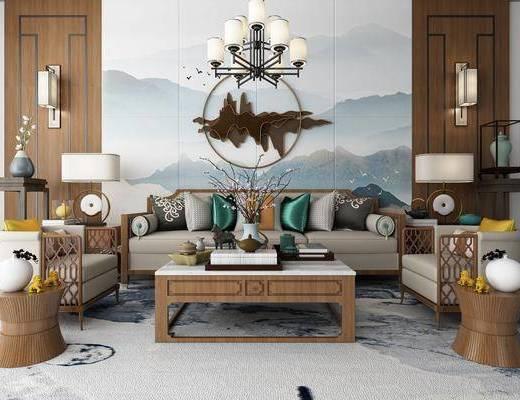 沙发组合, 新中式沙发茶几组合, 茶几, 吊灯, 摆件组合