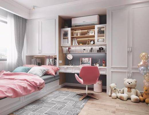 北欧榻榻米, 榻榻米, 卧室, 女儿房, 单人床, 儿童房